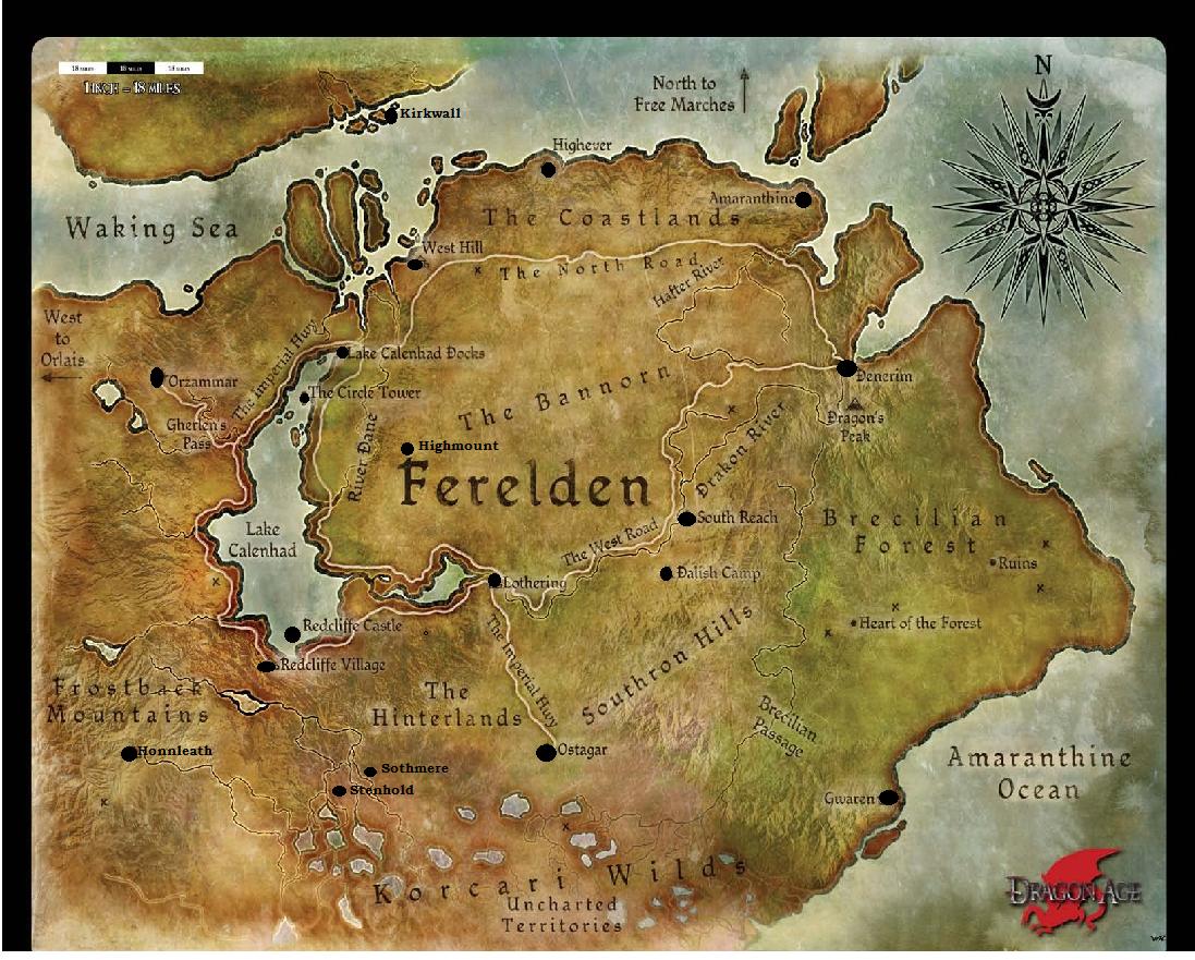 Map Of Ferelden Ferelden   Dragon Age Adventures Map Of Ferelden